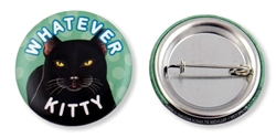 """Whatever Kitty"" Black Cat Buttons"