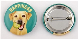 """Happiness"" Yellow Lab Buttons"