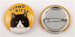 """Hypno Kitty"" Black/White Cat Buttons"