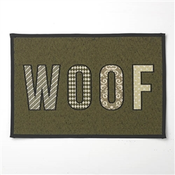 """WOOF Tapestry Placemat, Olive/Black, 13"""" x 19"""""""