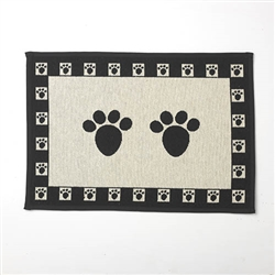 "Paws Tapestry Placemat, Natural/Black 13""x19"""