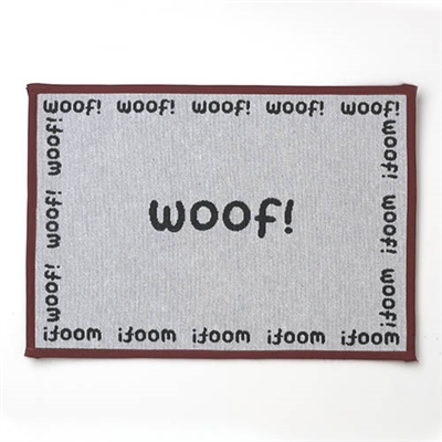 """WOOF Tapestry Placemat, Natural/Black 13""""x19"""""""