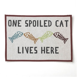 "One Spoiled Cat Tapestry Placemat, Natural Multi 13""x19"""