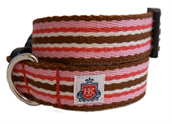 Henley Pink & Brown 9 Stripe Collars and Leashes by Huxley & Kent