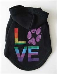 Rainbow LOVE dog hoodie