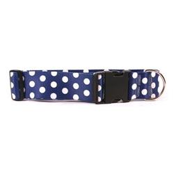"""Navy Polka Dot 2"""" Dog Collar"""