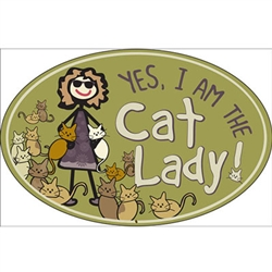 Cat Lady - Oval Magnet