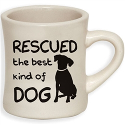 Rescued... - 10oz ivory diner mug with black print