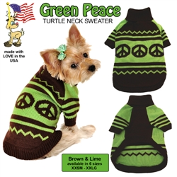 """""""Peace"""" Green and Brown Turtle Neck Sweater"""