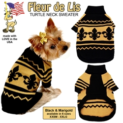 """""""Fleur de Lis""""  Yellow and Brown Turtle Neck Sweater"""