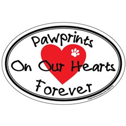 Pawprints On Our Hearts Forever - Oval Magnet