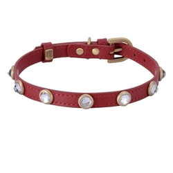 Mini Diamond Collar & Leash - Red