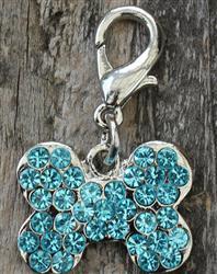 Blue Crystal Bone Dog Collar Charm