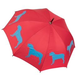 American Pit Bull Terrier Cardinal Red and Royal Blue Walking Stick Rain Umbrella