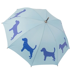 Beagle Powder Blue and Royal Blue Walking Stick Rain Umbrella
