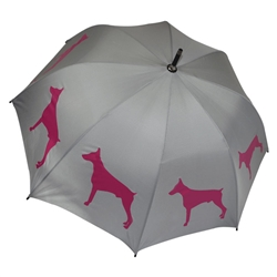 Doberman Pinscher Umbrella Purple on Silver