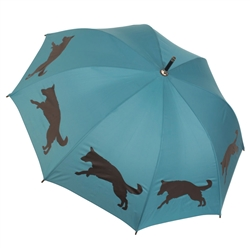 German Shepherd Teal and Black Walking Stick Rain Umbrella