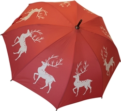 Reindeer Stag Umbrella White on Pink