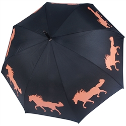 Horse Umbrella Orange on Black