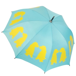 Labrador Retriever Puppies Yellow on Blue Umbrella