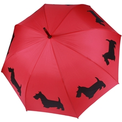Scottish Terrier Black on Red Umbrella