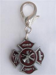 Fire Department Maltese Cross Dog Collar Charm