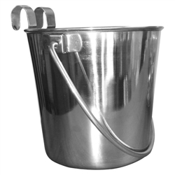 Stainless Steel Flat Sided Bucket with Riveted Hooks