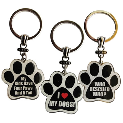 Pawprint Quote Keychains