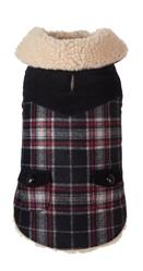 Black Wool Plaid Shearling Jacket