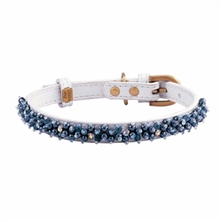Mini Beads Collar & Leash - White/Hematite