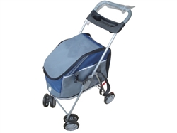 Outdoors 'All-Surface' Convertible All-In-One Dog Stroller Carrier and Car-Seat-BLUE