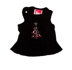 Red Tree on Black Christmas Tank Dress