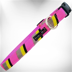 Pink & Grey Stripe Dog Collars and Leads