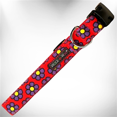 Purple Daisies on Red Dog Collars and Leads