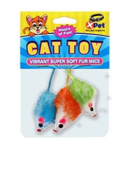 Vibrant Super Soft Fur Mice 3 Pack