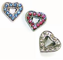 Rhinestone Heart Charm - Pack of 5