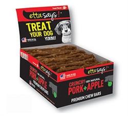 Pork & Apple Crunchy Premium Chew Bars POS- 12 per box by Etta Says!