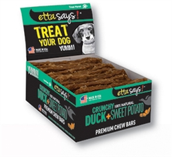 Duck & Sweet Potato Crunchy Premium Chew Bars POS- 12 per box by Etta Says!
