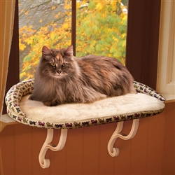 Deluxe Kitty Sill with Bolster Tan Kitty Print