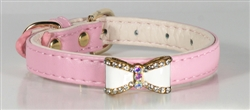Pink Crystal Bow Collar And Lead