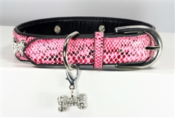 Chrystal Bone Charm Collar - Pink