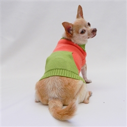 French Collar Orange Green Color Block Sweater by Ruff Ruff Couture®