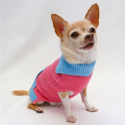 French Collar Rose Teal Color Block Sweater by Ruff Ruff Couture®