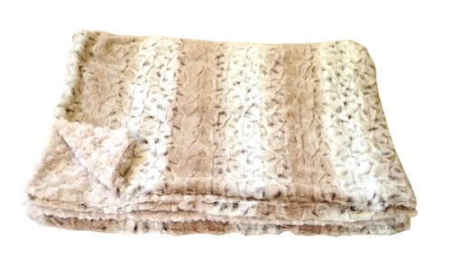 """Home Furnishings Frosted Snow Leopard Luxurious Fur Throw  58""""x86"""""""