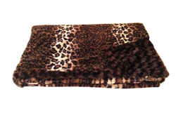 "Home Furnishings Dark Brown Leopard Luxurious Fur Throw 58""x86"""