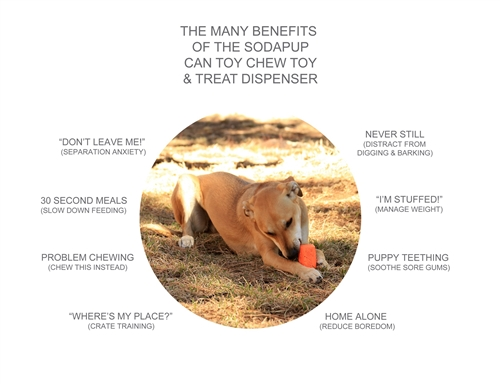 SodaPup - Natural Rubber Soda Can Dog Chew Toy - Made in USA - Treat Dispenser - Slow Feeder - for Heavy Chewers - Orange