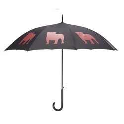 English Bulldog Black and Red Walking Stick Umbrella
