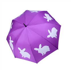 Rabbit Umbrella White on Purple