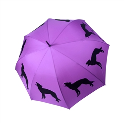 Wolf Umbrella Black on Purple