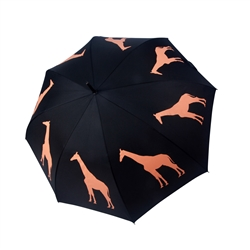 Giraffe Umbrella Orange on Black